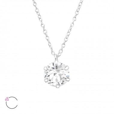 Round - 925 Sterling Silver Swarovski Necklaces  SD32722