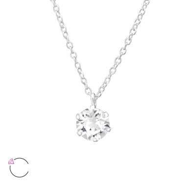 Round - 925 Sterling Silver Swarovski Necklaces  SD32723