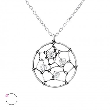 Dreamcatcher - 925 Sterling Silver Swarovski Necklaces  SD36444
